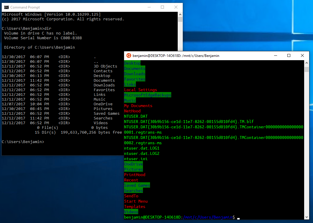 CMD and Ubuntu side-by-side