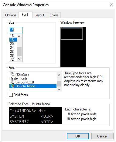 Console Windows Properties