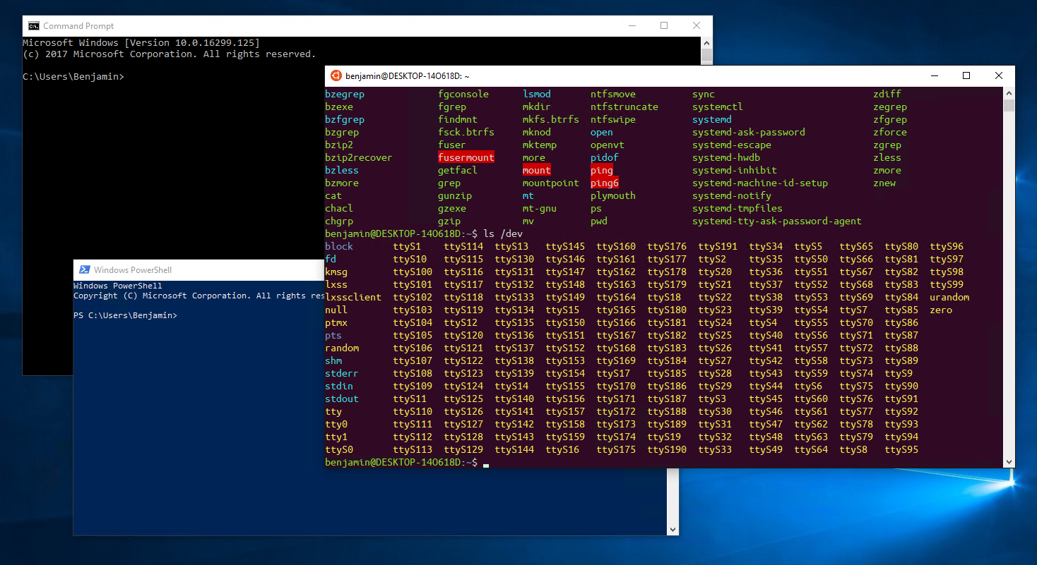 Three consoles - and Ubuntu on Windows now has the right color!