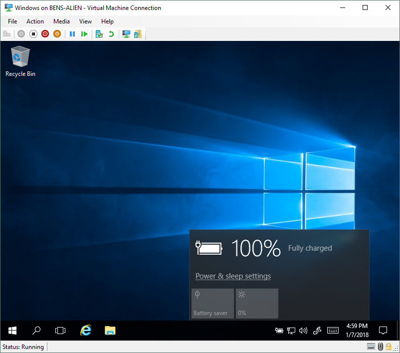 In Windows 10, Hyper-V now has virtual machines with batteries